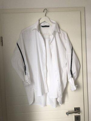 Weiter langer Oversized Bluse Hemd Zara mit Streifen weiß