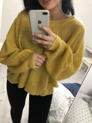 Weiter Oversized Strick Pullover Gelb