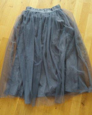 Falda de tul gris antracita-gris oscuro tejido mezclado