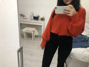 Weiter Strick Pullover Orange