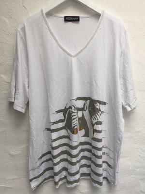 Weites weißes Shirt *Sneaker* Gr. 46 mit Goldprint