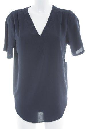Wemoto V-hals shirt donkerblauw casual uitstraling