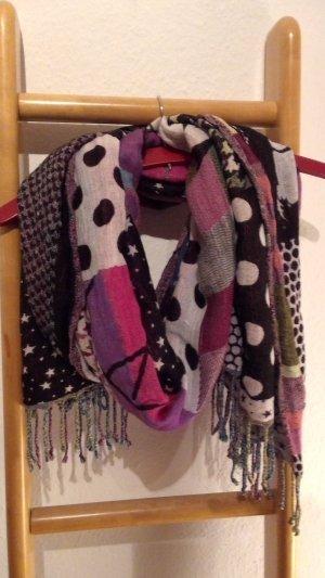 Wende-Schal mit bunten Mustern