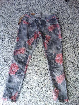 Made in Italy Pantalon strech gris-rouge brique
