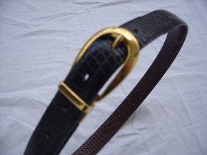 Wendegürtel schwarz/braun Kroko-Optik goldene Schnalle Gr.75