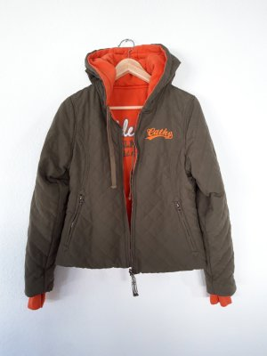 Veste réversible orange-gris vert