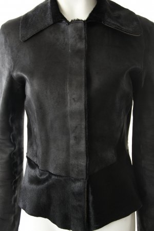 Wendejacke schwarz Leder-Optik