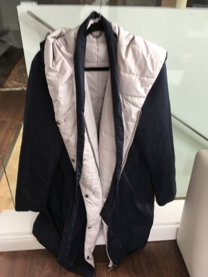 Triangle Hooded Coat dark blue-light grey polyester