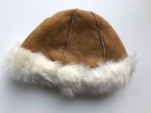Sombrero de piel blanco-camel