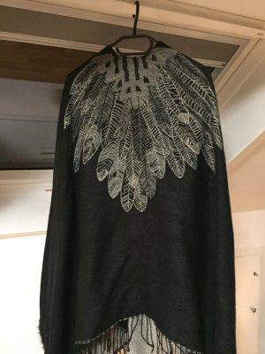 Wendeponcho grau/schwarz