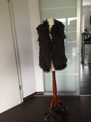 Giacca di pelliccia marrone scuro
