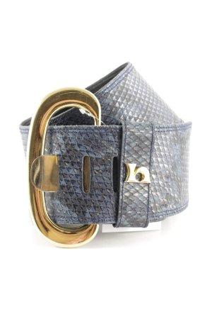 Werner Herbrand Cintura di pelle blu scuro-blu acciaio motivo animale