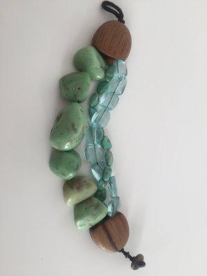 Wertiges Armband mit Steinen Türkis und Holzverschluss