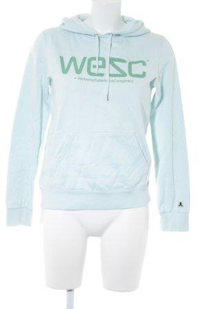 Wesc Jersey con capucha azul bebé letras impresas look casual