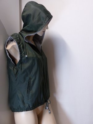 Hooded Vest dark green-light grey polyamide