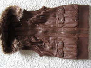 Colours of the World Leather Vest brown-cognac-coloured imitation leather