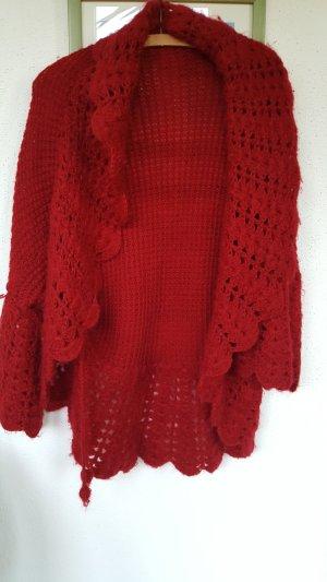 Gilet tricoté rouge brique coton