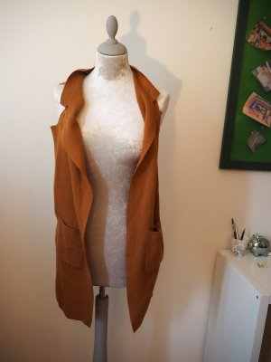Rich & Royal Long Knitted Vest bronze-colored-cognac-coloured