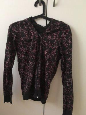 Chaleco con capucha negro-rosa