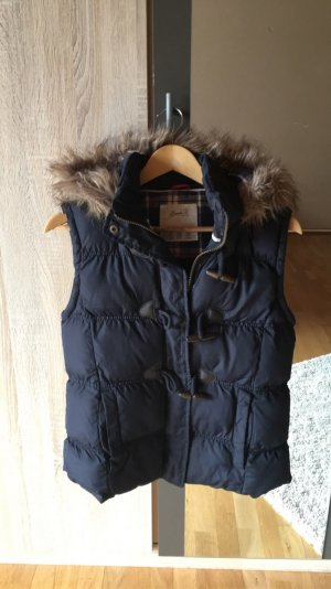 Hooded Vest dark blue-beige