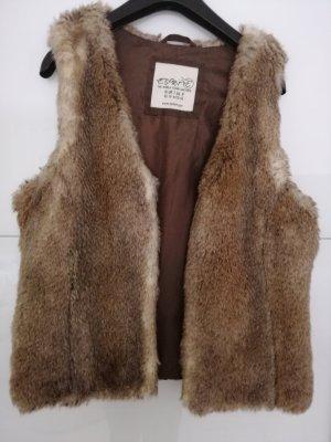 Esprit Fake Fur Vest brown