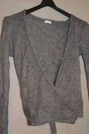 Cache-cœur en tricot gris foncé tissu mixte
