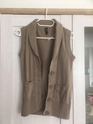 Takko Knitted Vest light brown-camel cotton