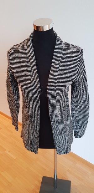 H&M Gilet tricoté blanc-noir coton