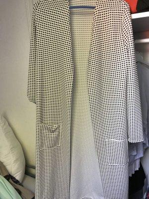 Gilet long tricoté noir-blanc