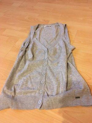 Tom Tailor Gilet long tricoté argenté coton