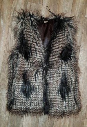 H&M Divided Fake Fur Vest multicolored fur