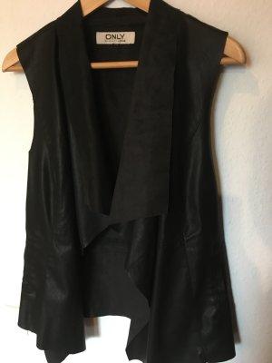 Only Gilet en cuir noir