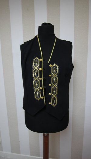 Gilet tricoté noir-doré