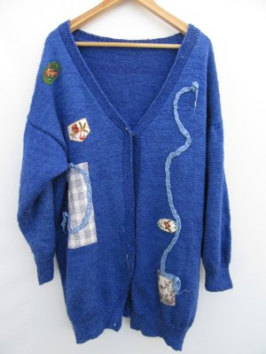 Vintage Gilet tricoté bleu foncé