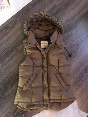 H&M Chaleco con capucha marrón-marrón claro