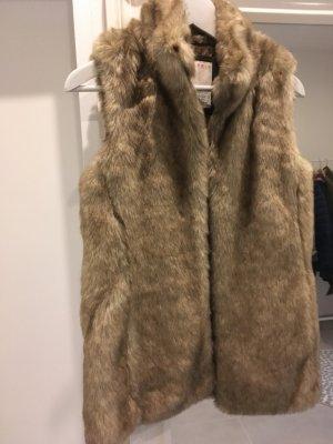 Weste braun Fell kunstfell Esprit s 34 36 xs