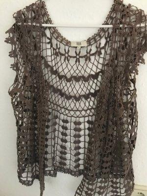 Noa Noa Knitted Vest dark grey cotton