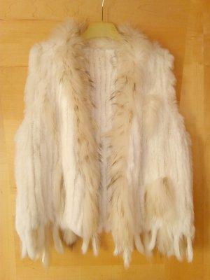 Smanicato di pelliccia bianco-beige Pelliccia