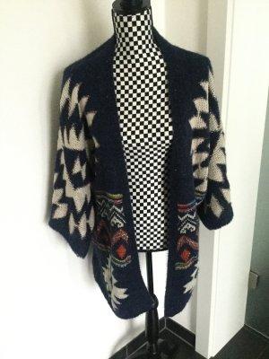 Weste Cardigan Indian Style blau mit Glitzer Onesize S M L Lindsay Moda Made in Italy