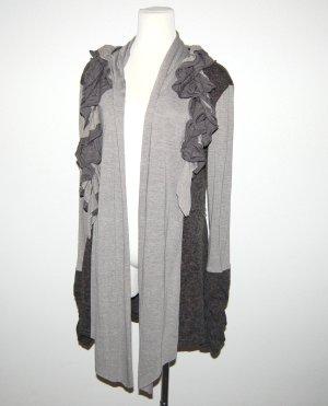 Classic Chaleco de punto largo color plata-taupe tejido mezclado