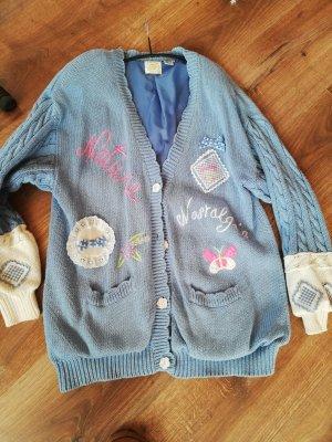 Long Knitted Vest light blue cotton