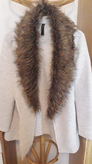 Takko Gilet long tricoté blanc cassé