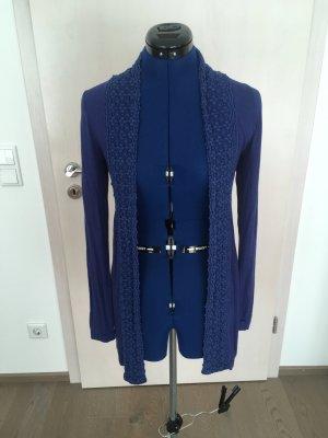 Zero Gilet long tricoté bleu