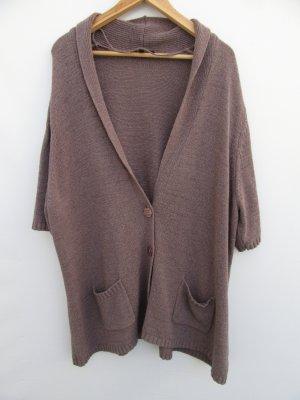 Vintage Gilet long tricoté brun