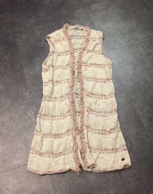 edc by Esprit Long Knitted Vest oatmeal-red