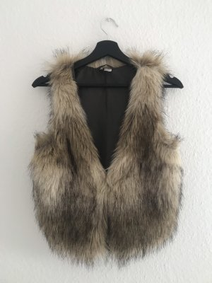 H&M Divided Fur vest natural white-brown