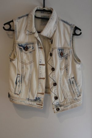 Bershka Smanicato jeans bianco-blu acciaio Cotone