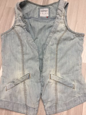Esprit Gilet en jean bleu azur