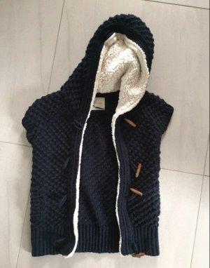 Only Hooded Vest white-dark blue