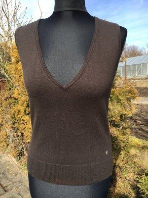 Street One Knitted Vest dark brown cotton
